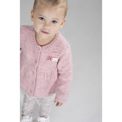 Heathered knit cardigan with velvet bows