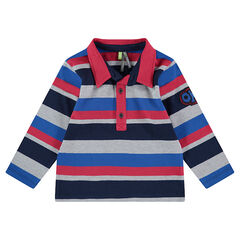 Long-sleeved polo shirt with contrasting stripes and badge