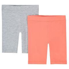 Set of 2 plain-colored capri pants