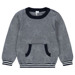 Finely striped knit sweater with kangaroo pocket