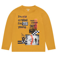 Junior - Long-sleeved jersey tee-shirt with a decorative printed motif