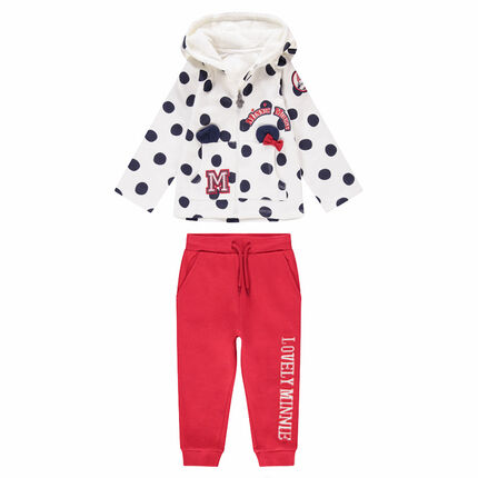 Fleece sweatsuit with printed polka dots and ©Disney Minnie Mouse details