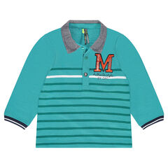 Long-sleeved striped polo shirt with chambray collar