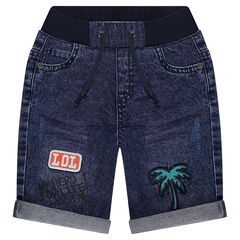 Used-effect denim bermuda shorts with elastic waistband and badges