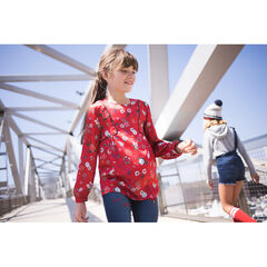 Junior - Satin tunic with allover printed flowers