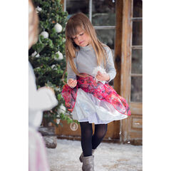 Thin sweater in jersey and lurex with printed hearts