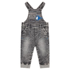 Long snow wash-effect overalls with a helicopter print