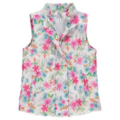 Sleeveless down jacket with decorative print