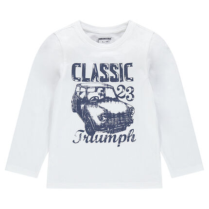 Long-sleeved tee-shirt with printed car