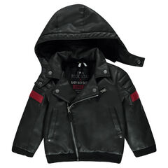 Imitation leather jacket with sherpa lining and removable hood