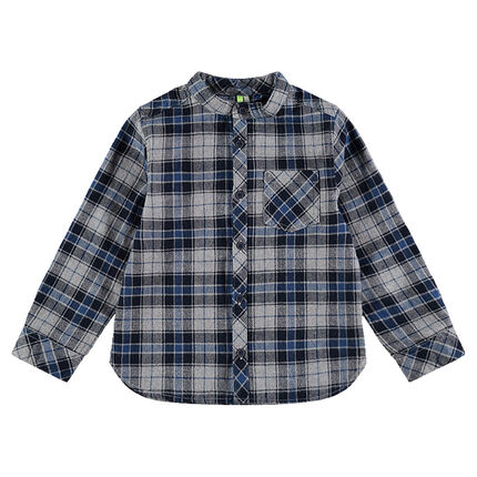 Long-sleeved checkered flannel shirt with a mandarin collar