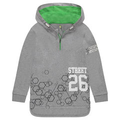 Long fleece sweatshirt with geometric print and zip