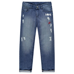 Junior - Boyfriend jeans with decorative tears and badges