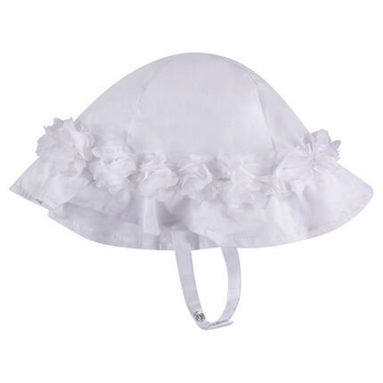 Bonnet in poplin with tulle flowers