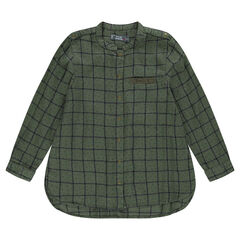 Junior - Long shirt with printed checks and stars