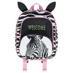 Zebra-striped backpack with ears in relief and hints of pink