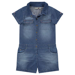 Junior - Used-effect romper with pockets in elastane cotton chambray
