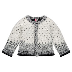 Cardigan with fluffy knit effect and jacquard motifs