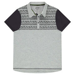 Junior - Short-sleeved jersey polo shirt with a placed ethnic motif