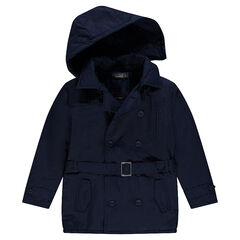 Junior - Twill trench coat with removable hood and pockets