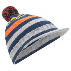 Striped knit cap with pompom and built-in visor