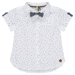 Short-sleeved shirt with print and bow tie