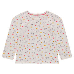 Long-sleeved jersey tee-shirt with printed flowers
