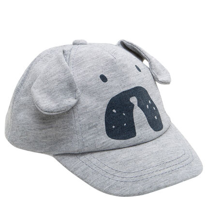 Heathered jersey cap with 3D ears and dog print