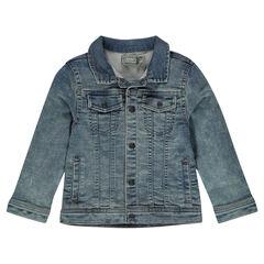 Junior - Worn denim-effect fleece jacket with pockets