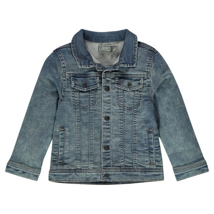 Junior - Worn denim-effect fleece jacket with pockets