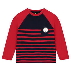 Long-sleeved striped tee-shirt with ©Smiley print