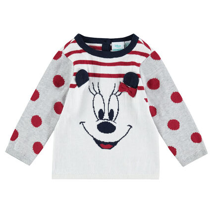 Knit sweater with stripes and ©Disney Minnie Mouse motif in jacquard
