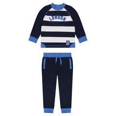 "Striped fleece sweatsuit with message ""London"""
