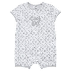 Short jersey playsuit with printed writing