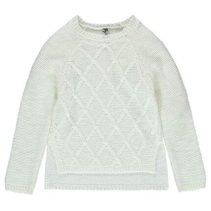 Knit sweater with interplay of stitching and asymmetric cut