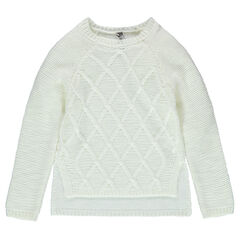 Junior - Knit sweater with interplay of stitching and asymmetric cut