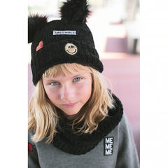 Chenille knit cap with fake fur pompoms and sparkly badges