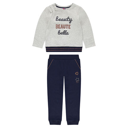 Two-tone fleece sweatsuit with sequined messages