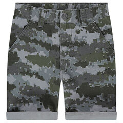 Twill Bermudas with army motif