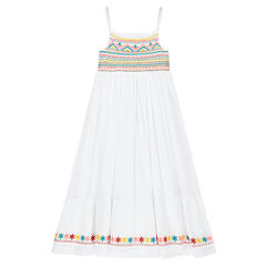 Long dress with thin straps and embroidery