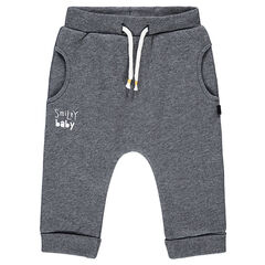 Heather gray fleece sweatpants with a ©Smiley print in back