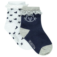 Set of 2 pairs of socks with lace