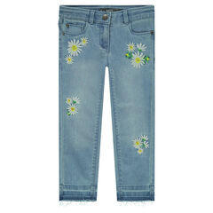 Faded-effect jeans with embroidered flowers