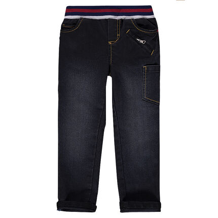 Worn-effect, slim-cut jeans with textured writing