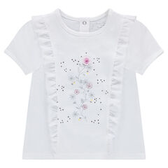 Short-sleeved jersey tee-shirt with frills and printed flowers