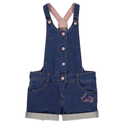Denim style fleece overall shorts
