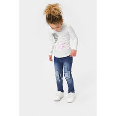 Junior - Distressed jeans with patches and fringes