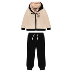 Satin and velvet sweatsuit with ©Smiley sequined message
