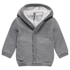 Sherpa-lined knit cardigan with hood
