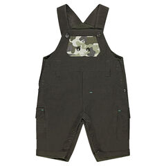 ©Smiley jersey-lined overalls with army motif pocket